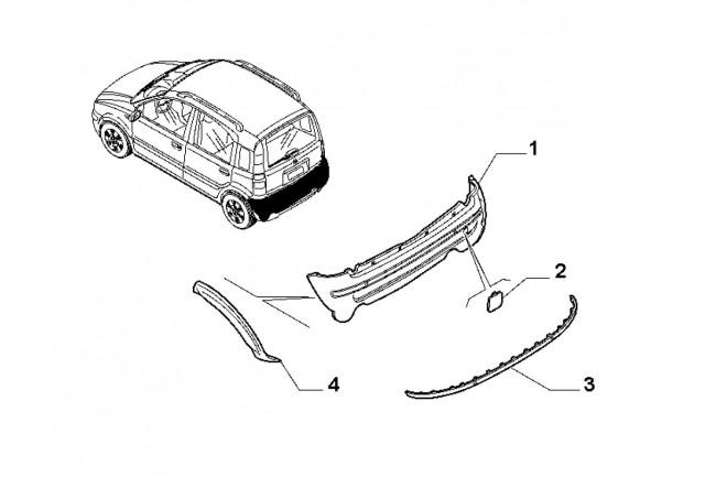 paraurti posteriore fiat panda 8  3 bipower